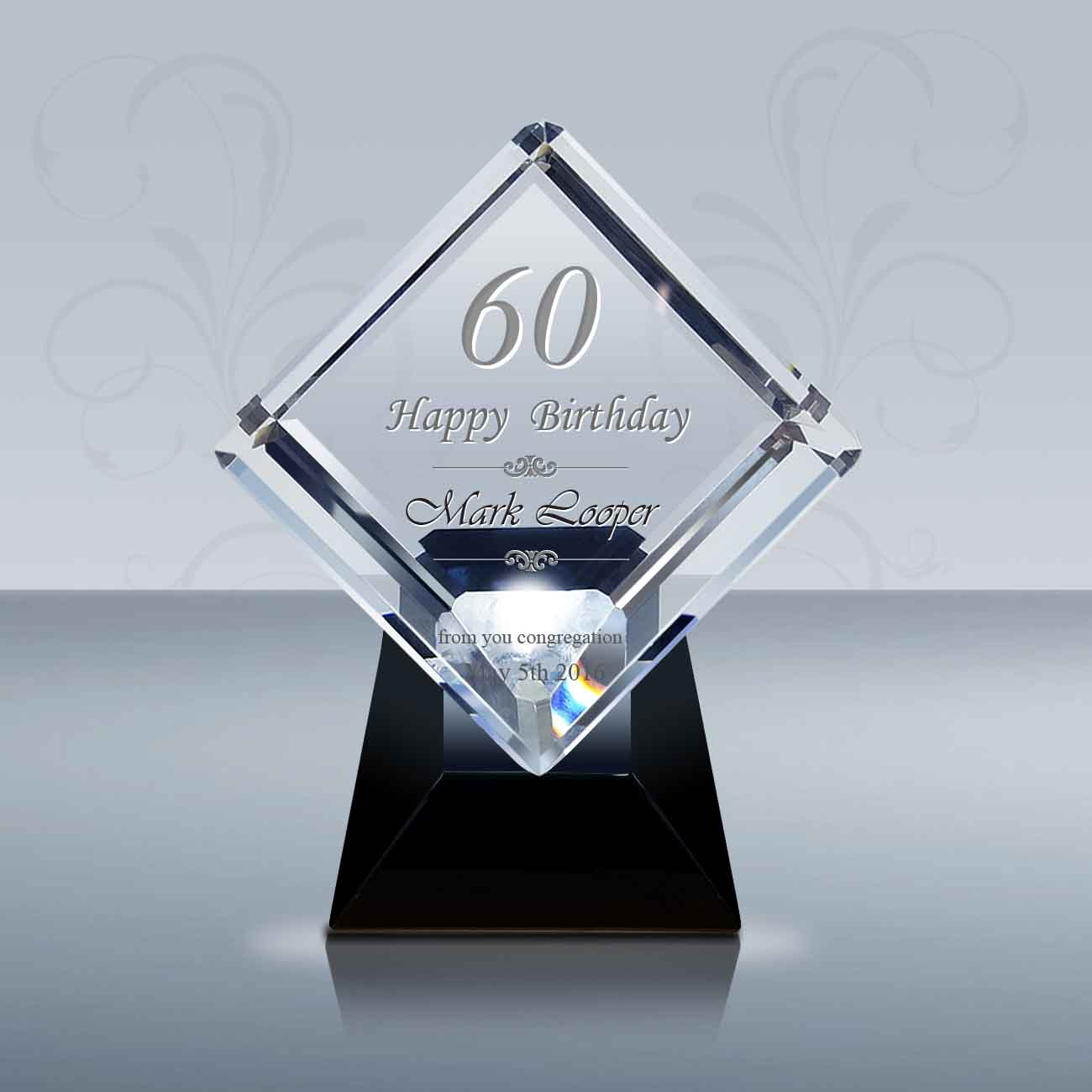 Pastor Birthday Gift 3D Crystal Diamond Award 028 Goodcount