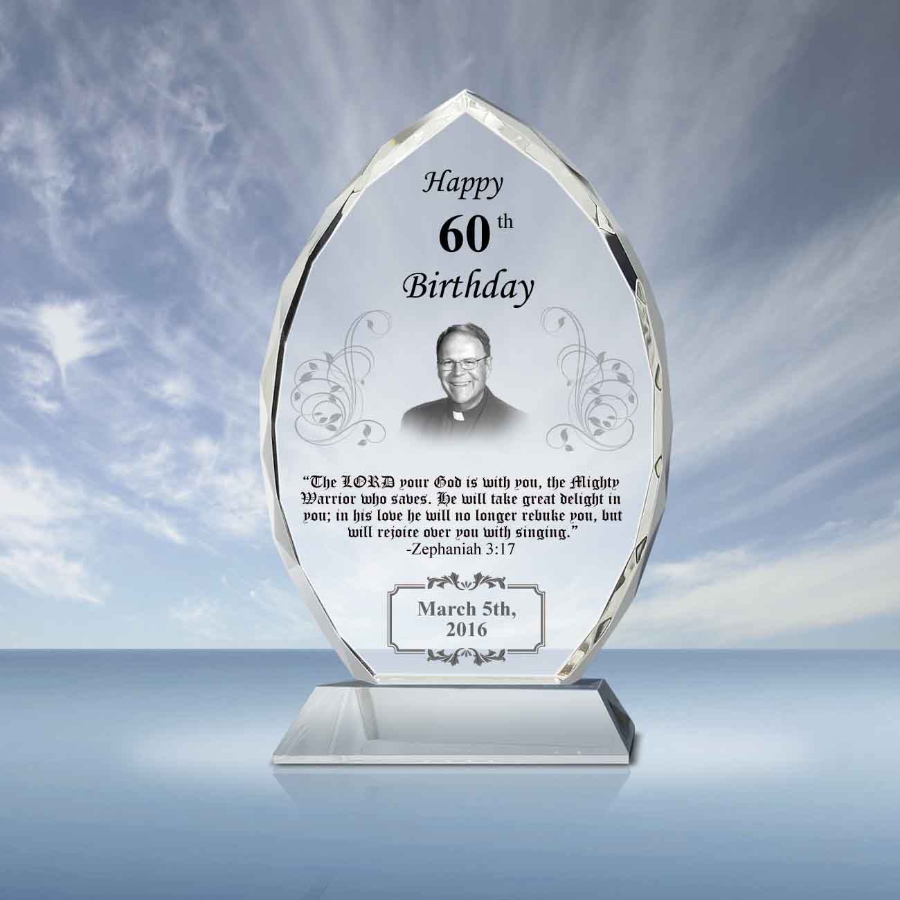 Pastor Birthday Gift Crystal Oval Plaque 042 Goodcount 3d