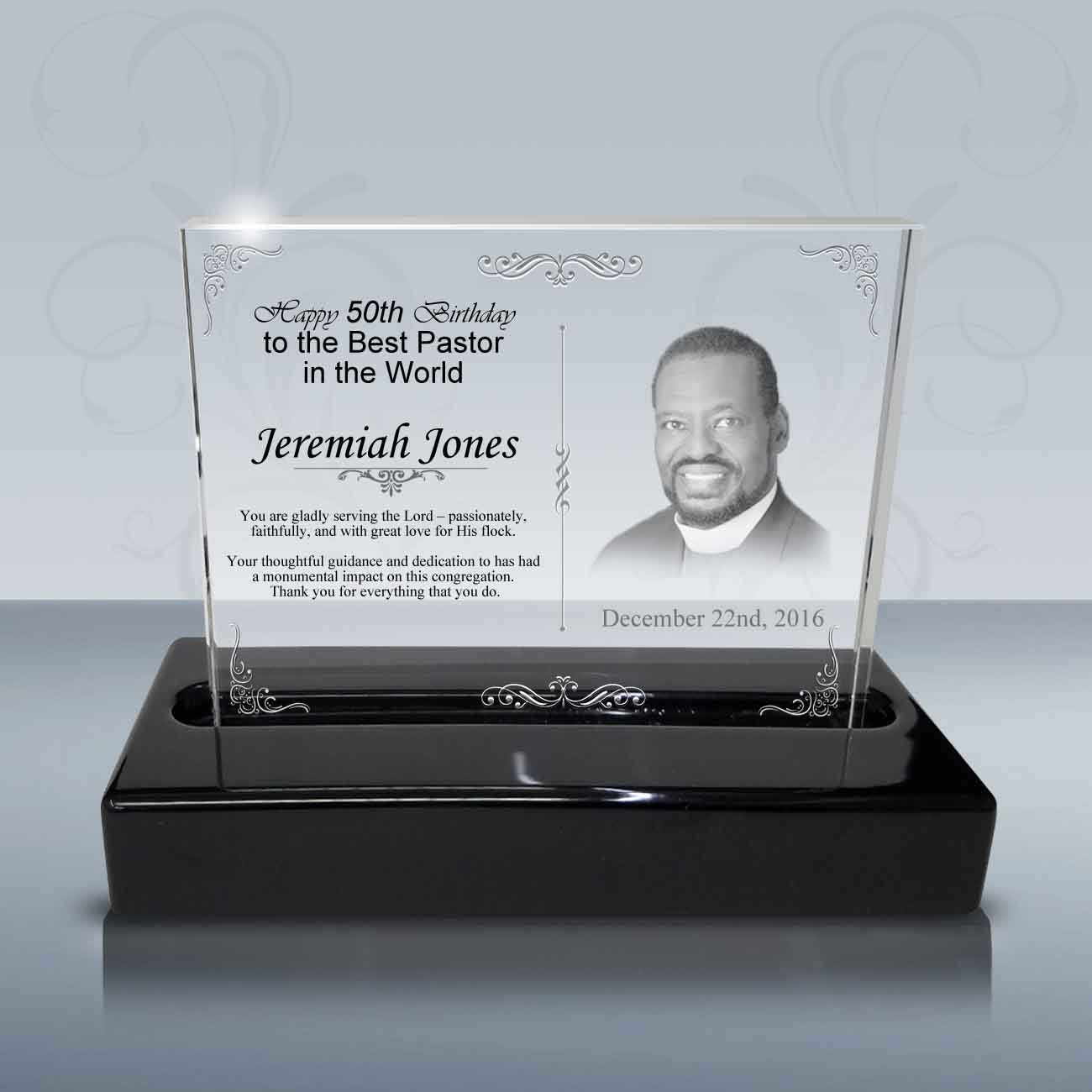 Pastor Birthday Gift Crystal Celebration Plaque B1023
