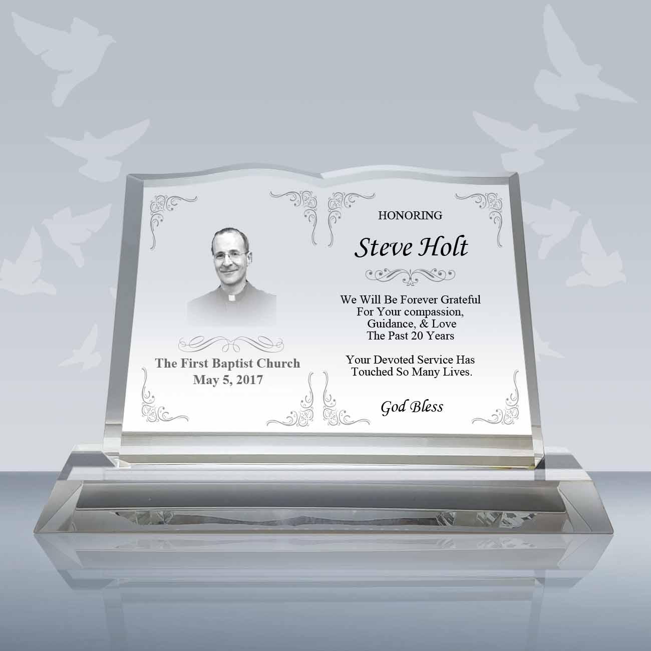 Pastor Retirement Gift - Crystal Book Plaque (004)-Design B