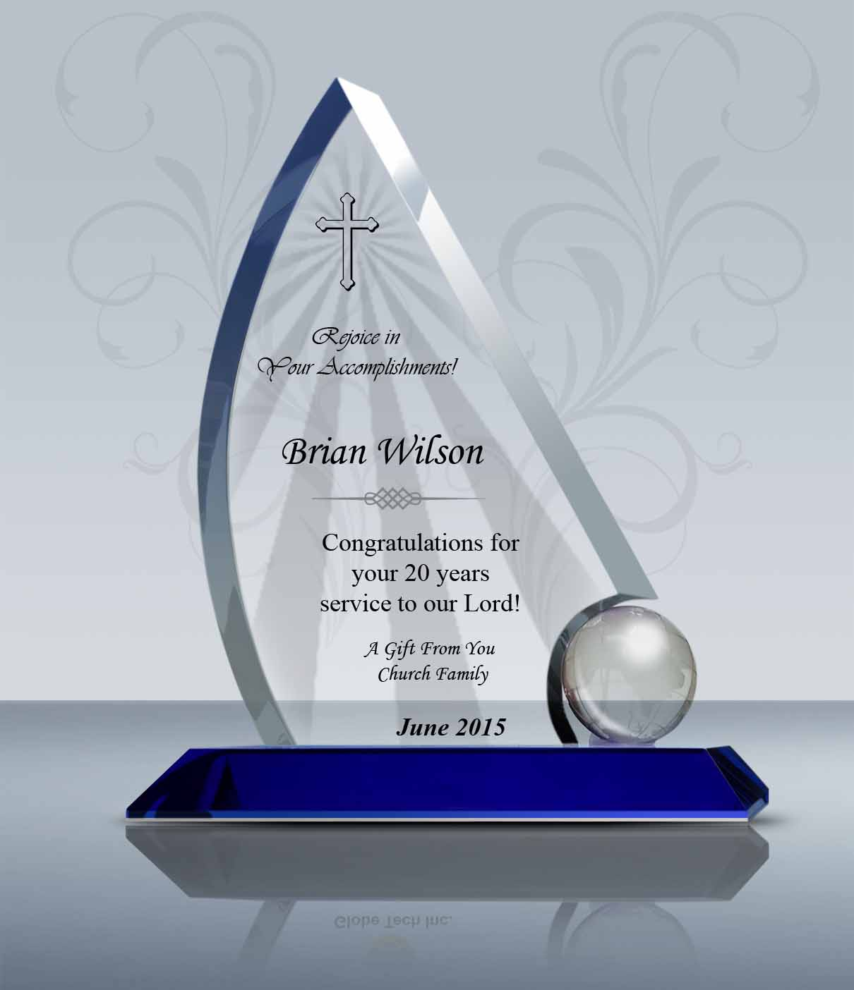 Pastor Retirement Gift Crystal Sailing Plaque 013 Goodcount 3d
