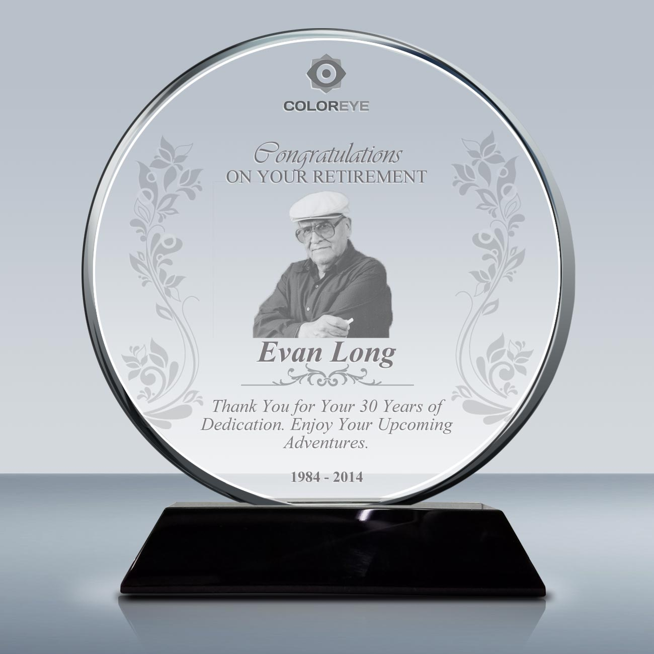 Retirement Plaque Crystal Circle Award 016 Goodcount 3D