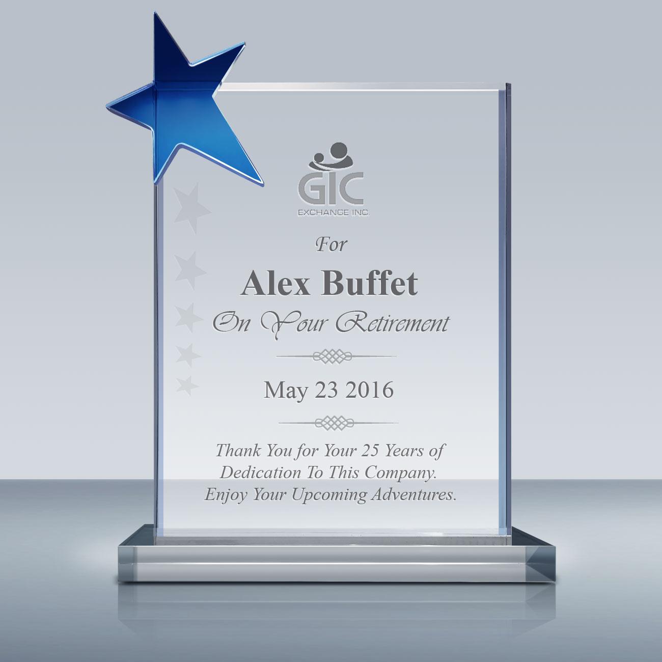Retirement Crysal Award – Crystal Star Plaque (027 ...