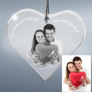 Photo Crystal Heart Ornament