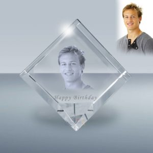 Etched photo crystal jewel cube